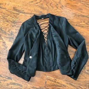 Free People Jackets & Coats - Free People Faux Suede Lattice Back Jacket